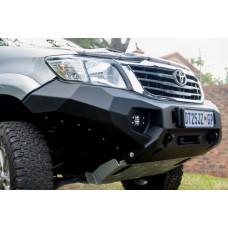 Бампер силовой Rival передний для Toyota Hilux Vigo 2011-2015, алюминий 6 мм (черный, с ПТФ)