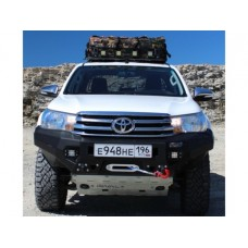 Бампер силовой Rival передний для Toyota Hilux Revo 2015-, алюминий 6 мм (черный, с ПТФ)