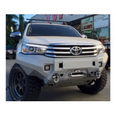 Бампер силовой Rival передний для Toyota Hilux Revo 2015-, алюминий 6 мм (серый, с ПТФ)