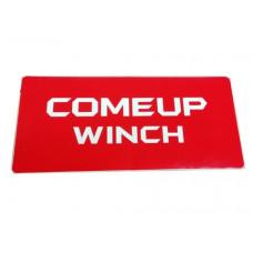 Наклейка COMEUP WINCH (красный фон белые буквы) Размер: 295x130 мм