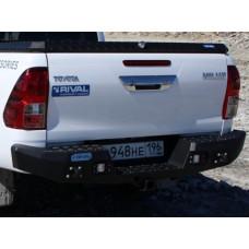 Бампер силовой Rival задний для Toyota Hilux Vigo 2011-2015/Revo 2015-, алюминий 4 мм (черный, с ПТФ)