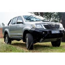 Бампер силовой Rival передний для Toyota Hilux Vigo 2011-2015, алюминий 6 мм  (черный, без ПТФ)