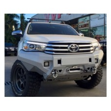Бампер силовой Rival передний для Toyota Hilux Revo 2015-, алюминий 6 мм  (серый, без ПТФ)