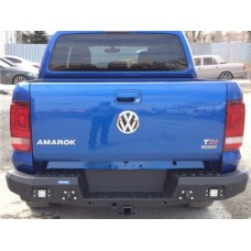 Бампер силовой Rival задний для Volkswagen Amarok (V-2.0 TDI) 2010-2016/(V-2.0 TDI, 3.0 TDI) 2016-, алюминий 4 мм (черный, с ПТФ)