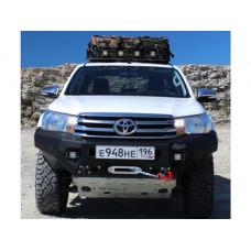 Бампер силовой Rival передний для Toyota Hilux Revo 2015-, алюминий 6 мм  (черный, без ПТФ)